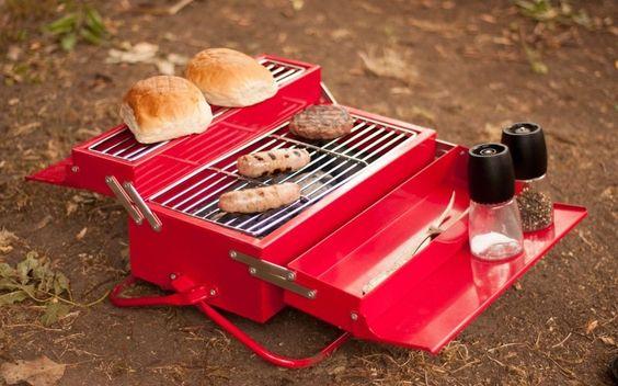 BBQ Toolbox: Portable barbecue grill resembles metal toolbox