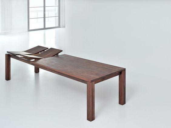 tavolo allungabile rettangolare in legno massello living - vitamin ... - Tavolo Allungabile Rettangolare