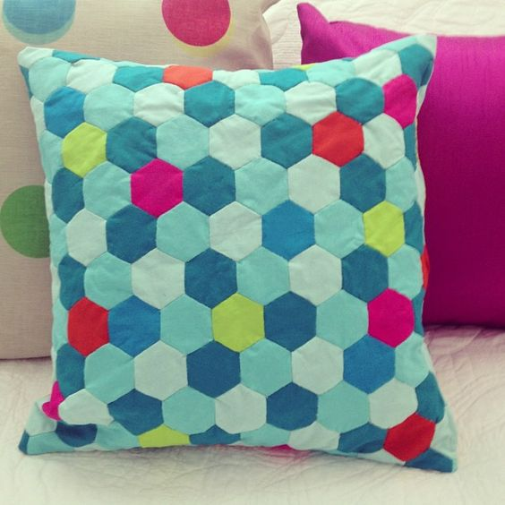 GEOMETRIC CUSHION Hand-quilted every piece! #crafty #geometric #cushion
