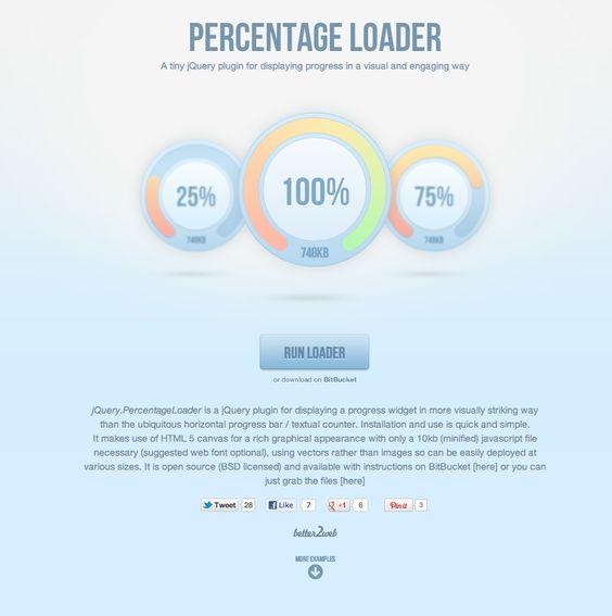 jQuery Percentage Loader #web #webdevelopment #jquery #code