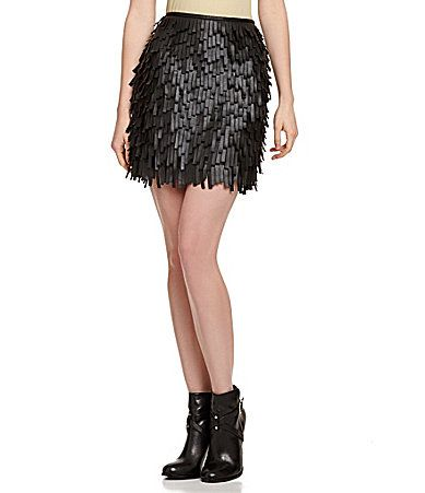 Chelsea and Violet Fringed FauxLeather Mini Skirt #Dillards