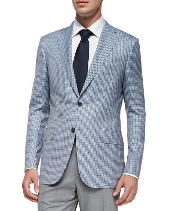 Trofeo 600 Check Jacket, Blue/Gray/White - Ermenegildo Zegna