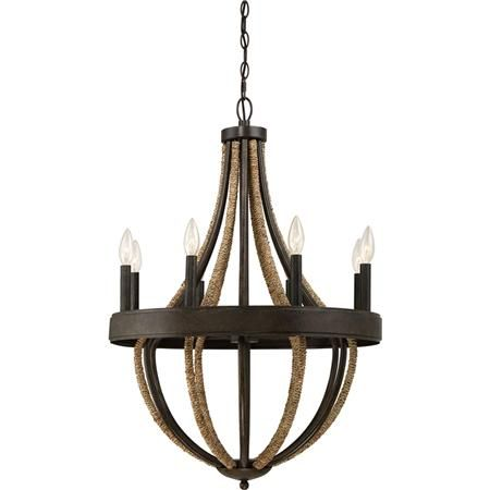 Rustic Rope Wrapped Chandelier - Large