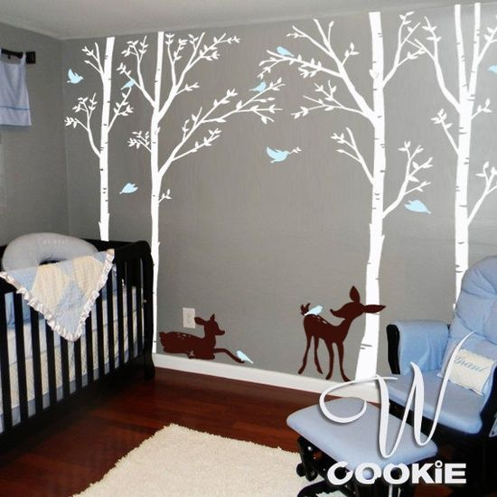 Birch trees birds and fawns wall decal boys deer and for Birch tree mural nursery