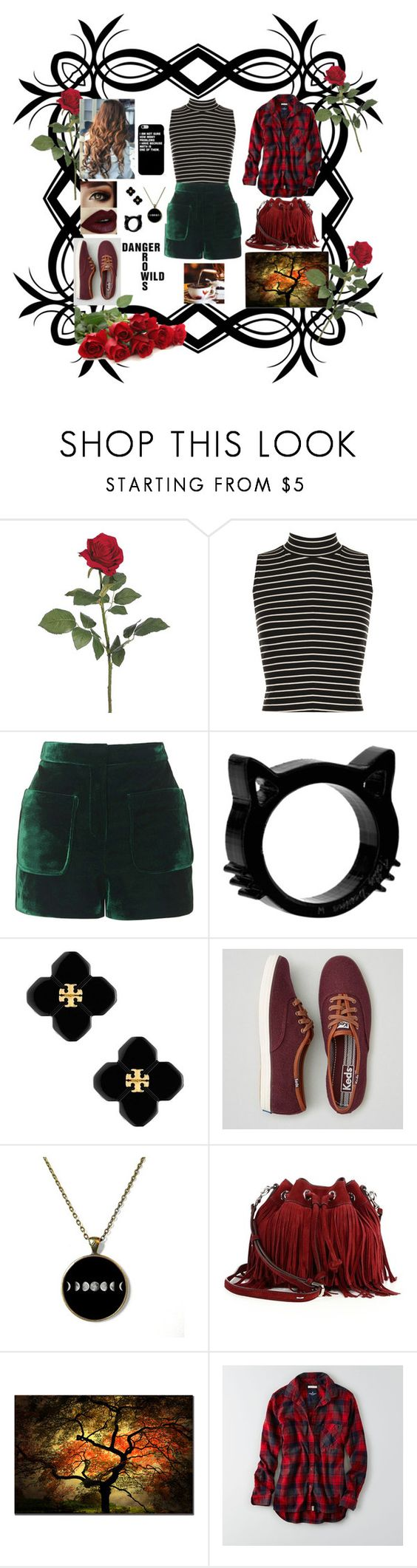 """""""Touch of velvet"""" by abigailscattergood on Polyvore featuring WearAll, Topshop, Tory Burch, American Eagle Outfitters, Rebecca Minkoff, stripes, velvet and roses"""