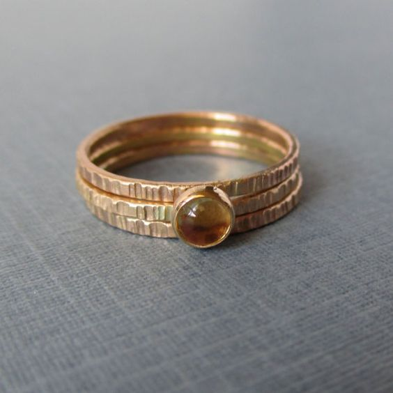 Tiny Stacking Rings - NOW in Gold-Fill and 14k - Shown with Citrine Stone - Your choice of stone on Etsy, $80.00
