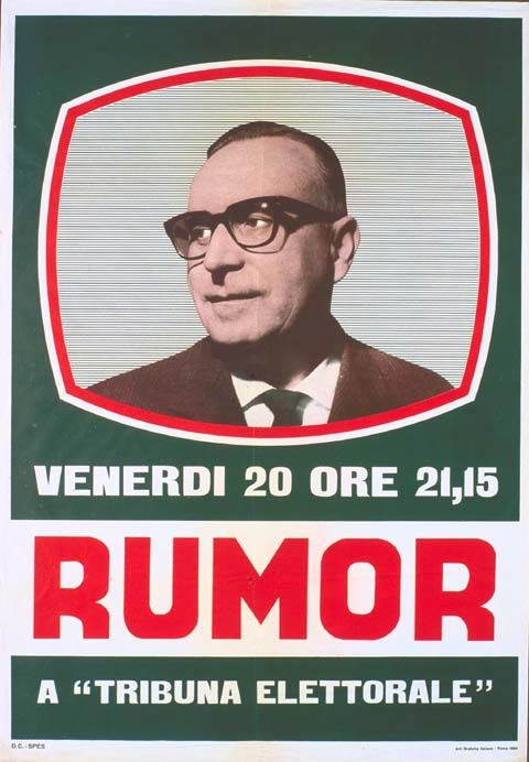 """Rumor : Venerdì 20 ore 21,15 a """"Tribuna elettorale"""" / DC, stampa 1964"""