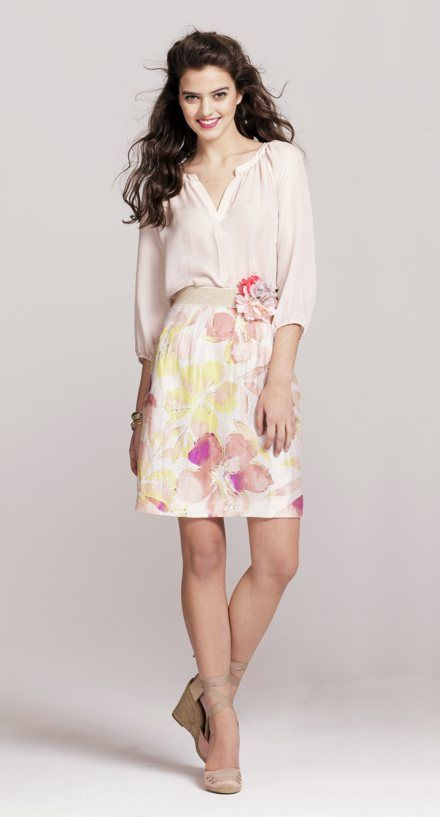 LOFT Style Closet Look 1:   -Double Peplum Hem Blouse, Style #268265  -Tropical Floral Skirt, Style #276349  -Rowan Tie Wedge Espadrilles, Style #278797