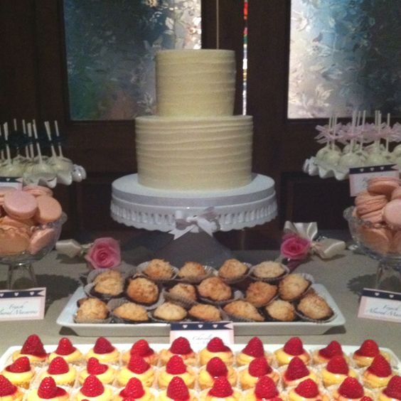 Wedding Dessert Bar - Wedding cake, raspberry tarts, French macrons, and candy apples