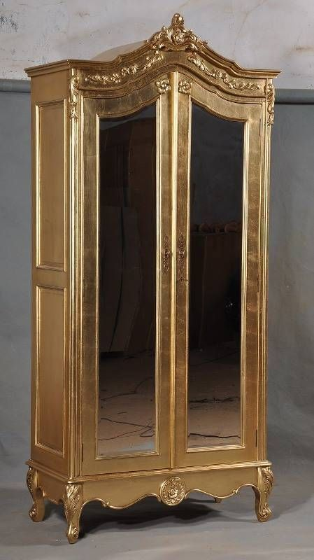 Solid mahogany gilt gold leaf french ornate mirrored mirror armoire wardrobe wardrobes french - French style armoire wardrobe ...