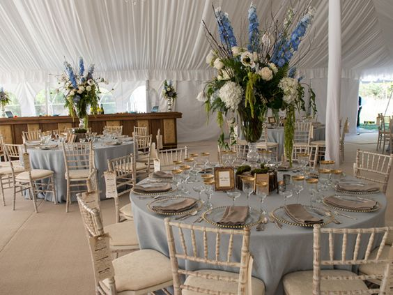 Wisteria Flowers and Gifts | Rustic Dream wedding tent with large centerpieces