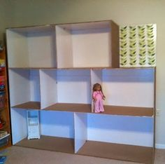 Doll's house made from cardboard boxes