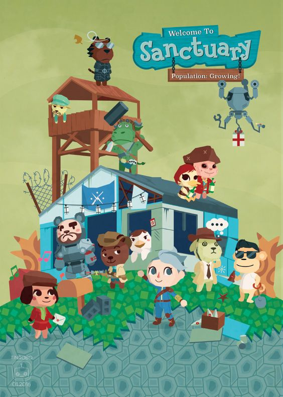 """tinrobo: """"animal crossing x fallout 4 companions crossover - sorry for leaving out dogmeat and not drawing any cats (saving them for atom cats!) [ print shop here: tinrobo.storenvy.com ] """""""