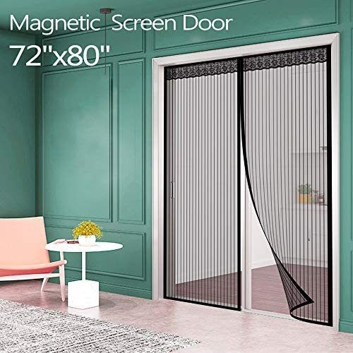 Magnetic Screen Door For French Door 72 W80 L Ikstar Sliding Screen Door With Full Frame Magic Tape Instant Double Mesh For Front Door Bug Out Kids Pets Walk In 2020 Magnetic Screen