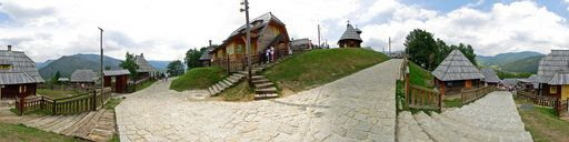 #Serbia --- Drvengrad: a traditional village that the Serbian film director Emir Kusturica built for his film Life Is a Miracle. It is located in the Zlatibor District on Mokra Gora and Višegrad, best known for Serbian  Ivo Andrić's Nobel-winning novel, The Bridge on the Drina.  Kusturica was the 2005 recipient of the Philippe Rotthier European Architecture award.  You can see how look on  http://www.360cities.net/image/drvengrad-mokra-gora-srbija#213.75,0.54,80.0