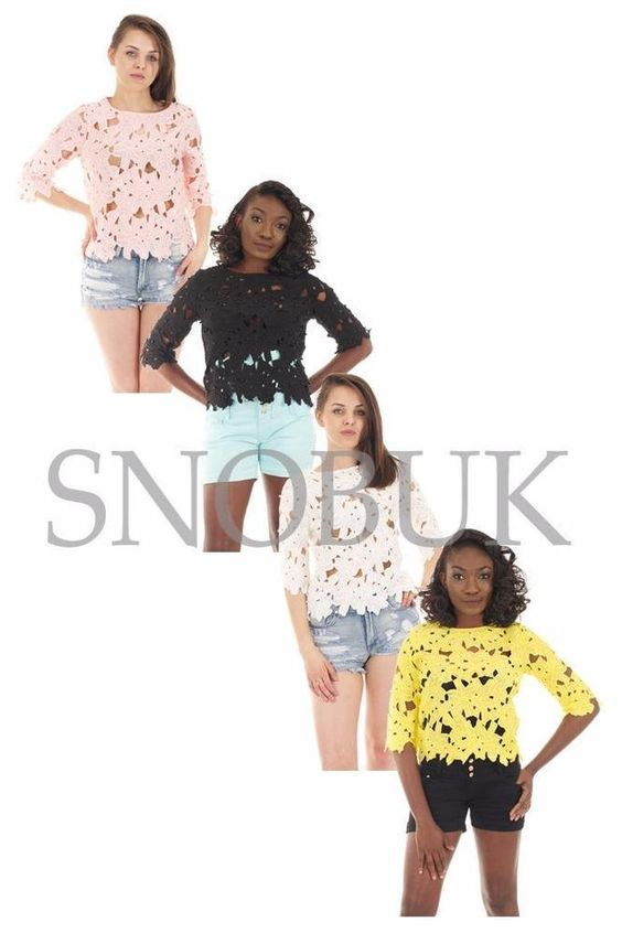 Sexy Women Short Sleeve Sheer Lace Floral Crochet Embroidery Blouse Tops T-Shirt