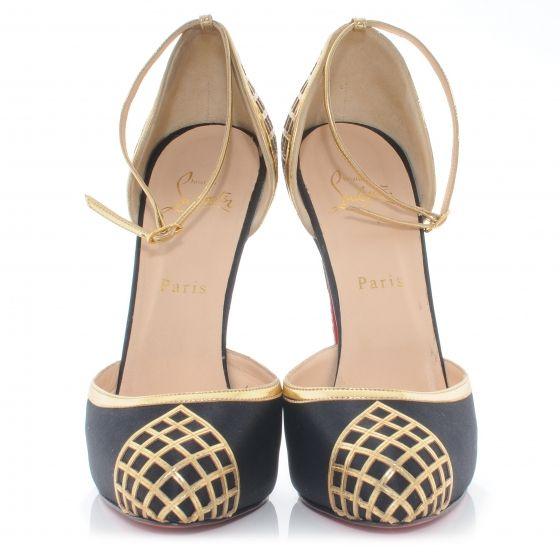 CHRISTIAN LOUBOUTIN Satin d'Orsay Annees Folles 140 Heels 39 Black Gold
