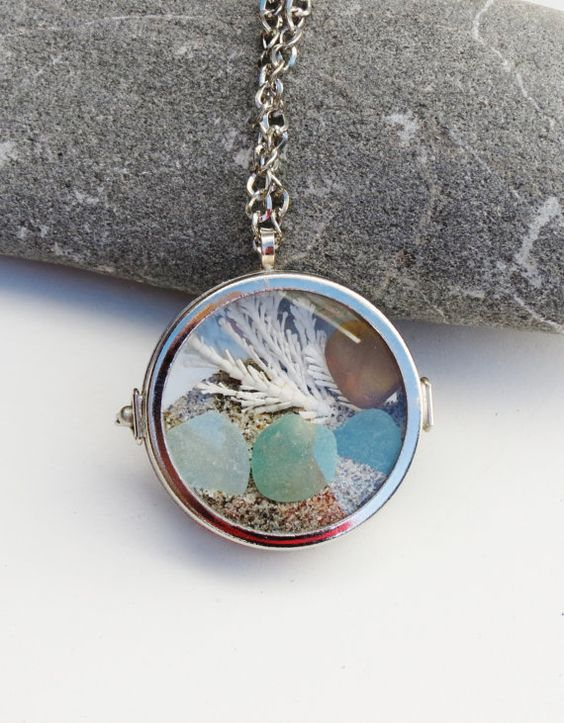 Sea Glass Beach Glass Locket Necklace Glass by GlassBeachSeaGlass