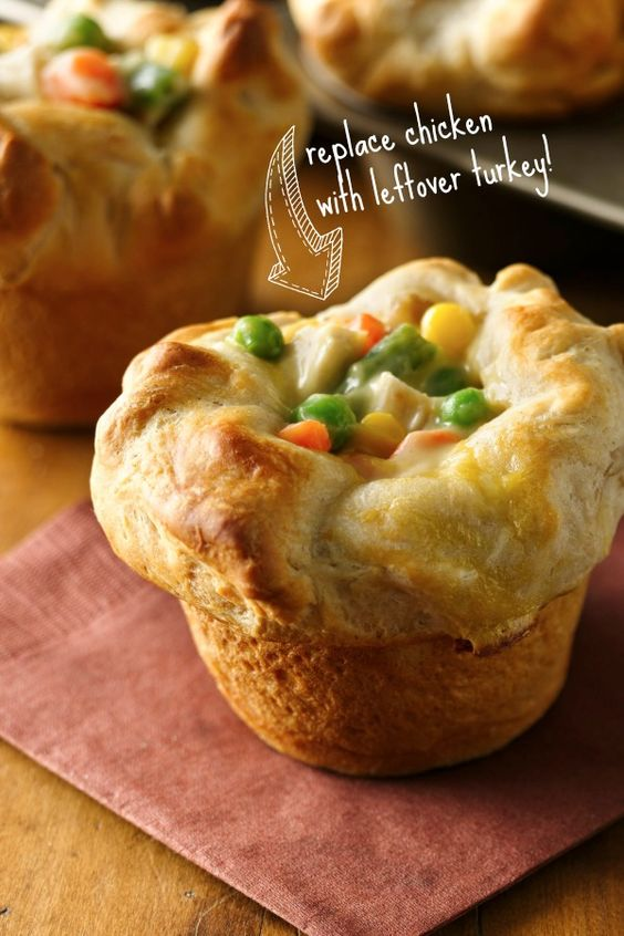 Idea for Thanksgiving leftovers: Pillsbury Grands! Mini Chicken Pot Pies with turkey instead!