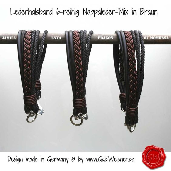 Hundehalsband Ledermix Schoko 6 cm breit