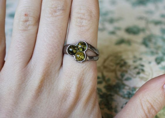 Vintage Black & Yellow Amber Sterling Silver Ring by GarnetRow, $29.00