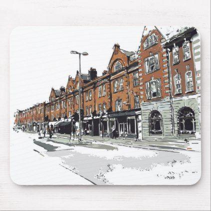 London Street Scene Mouse Pad Classic Gifts Gift Ideas Diy Custom Unique Street Scenes London Street Street
