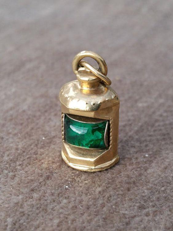 9ct Gold Ship's Lantern Charm  Vintage by LittleVintageCharmCo