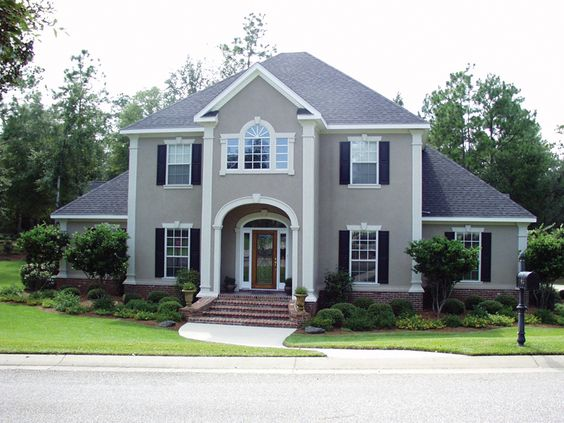 Aquila european home paint colors grey and full bath - How much to stucco exterior of house ...