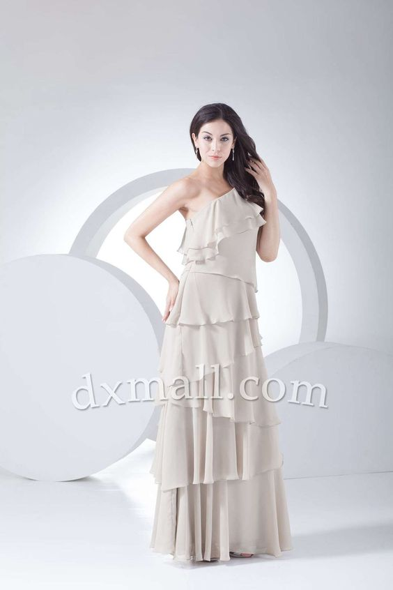 Sheath/Column Wedding Guest Dresses One Shoulder Floor Length Chiffon picture shown 130010400146