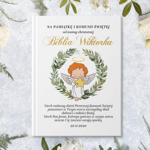 Biblia Prezent Na Komunie Z Imieniem Dziecka Aniolek Z Gwiazdka Book Cover
