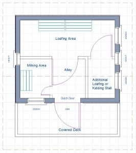 Floor plan goat shed milking parlor hobby farm for Hobby barn plans