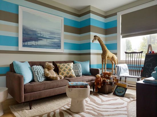 Boys' Nursery/Toddler Room by Alison Davin of Jute Interior Design  Besides the GREAT stripes on the wall, I think the giraffe is what 'grabbed me!'