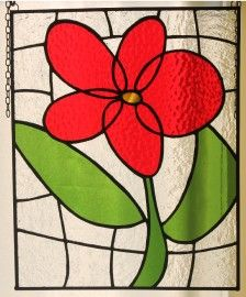 2014-06-02 19.08.54  Dancing daisy stained glass panel.