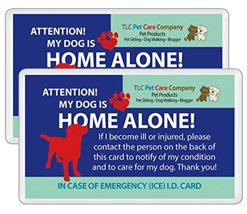 Cat Home Alone Card My Dog Is Home Alone Alert Emergency Ice Id Contact Wallet Card Heavy Cardstock Weight Qty 2 W S Cat House Card Wallet Caring Company