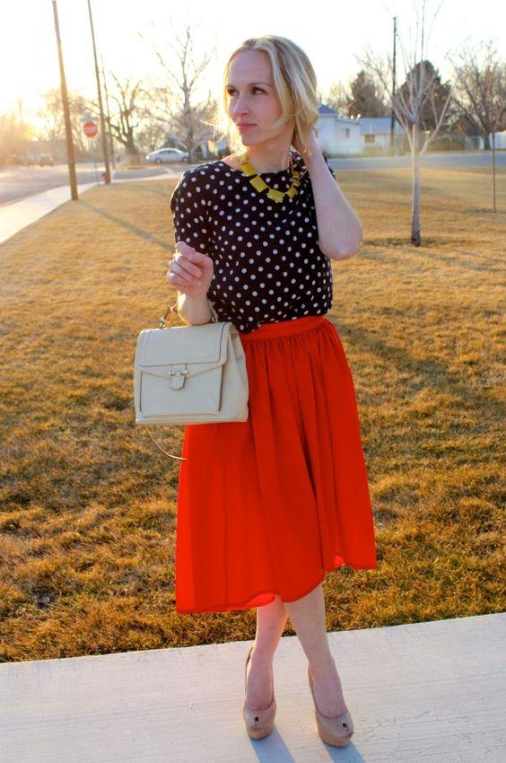 Red skirt + polka top.