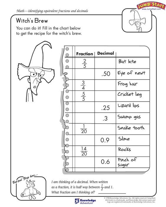 math worksheet : witch s brew quot;  4th grade free math worksheet on fractions and  : Free Math Worksheets For 4th Grade