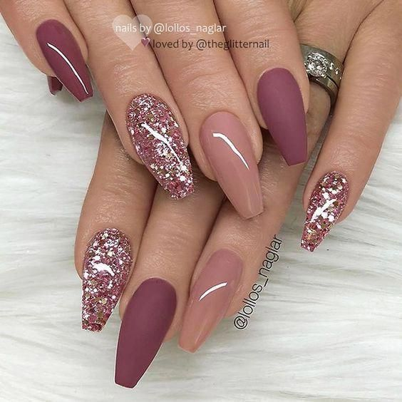 Coffin Nails Burgundy With Glitter Shiny