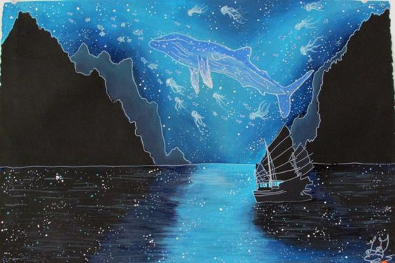 SALE Fantasy painting. Seascape by ArtOfTheTwoSisters on Etsy, $40.00
