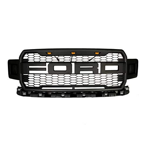 Front Grille Fits 2018 2019 Ford F150 Abs Mattle Raptor Style Honeycomb Grille With Conversion Letter Black Car Accessories Online Market Ford F150 Ford F150 Accessories Ford Trucks