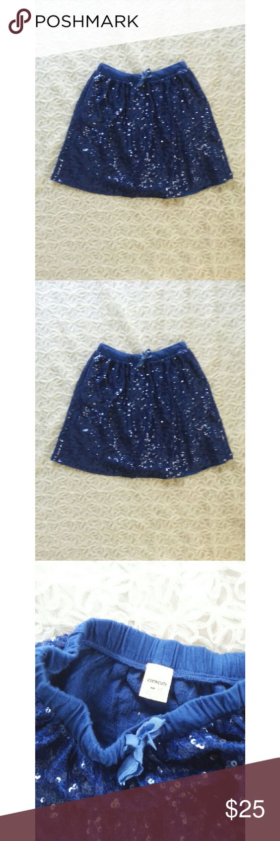 {j. crew} sequined skirt This fun and flirty blue skirt is from J. Crew CREWCUTS, size 10 kids but fits like adult xxs  Item 77305  Elastic waistband with a drawstring for the perfect fit  Pair with a black tee and patent black leather flats! Perfect for a night out  Gently worn J. Crew Skirts Circle & Skater