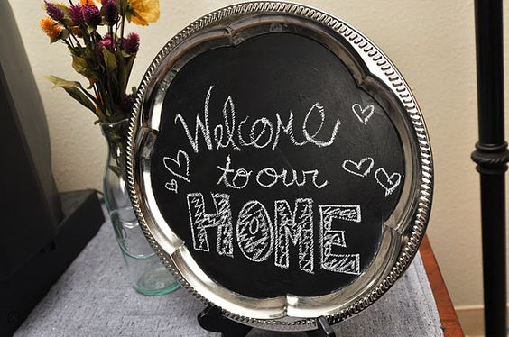 Awesome! Chalkboard paint on a tray found at a thrift store.