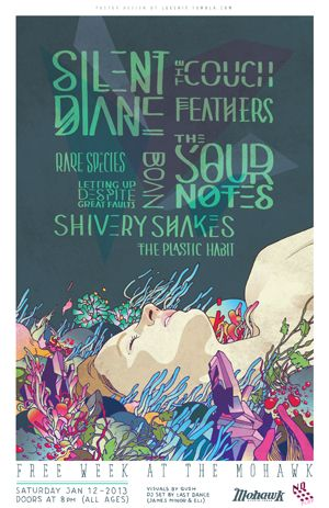 POSTER: Free Week @MohawkAustin Saturday 1/12/13 w/ @TheSourNotes @ShiveryShakes @TheCouchATX @FFeatherSS @SilentDiane @LettingUp, The Plastic Habit, Boan, Rare Species... by James Lee!