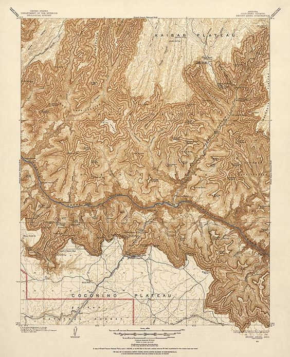Antique USGS Map Of Grand Canyon National Park From 1903