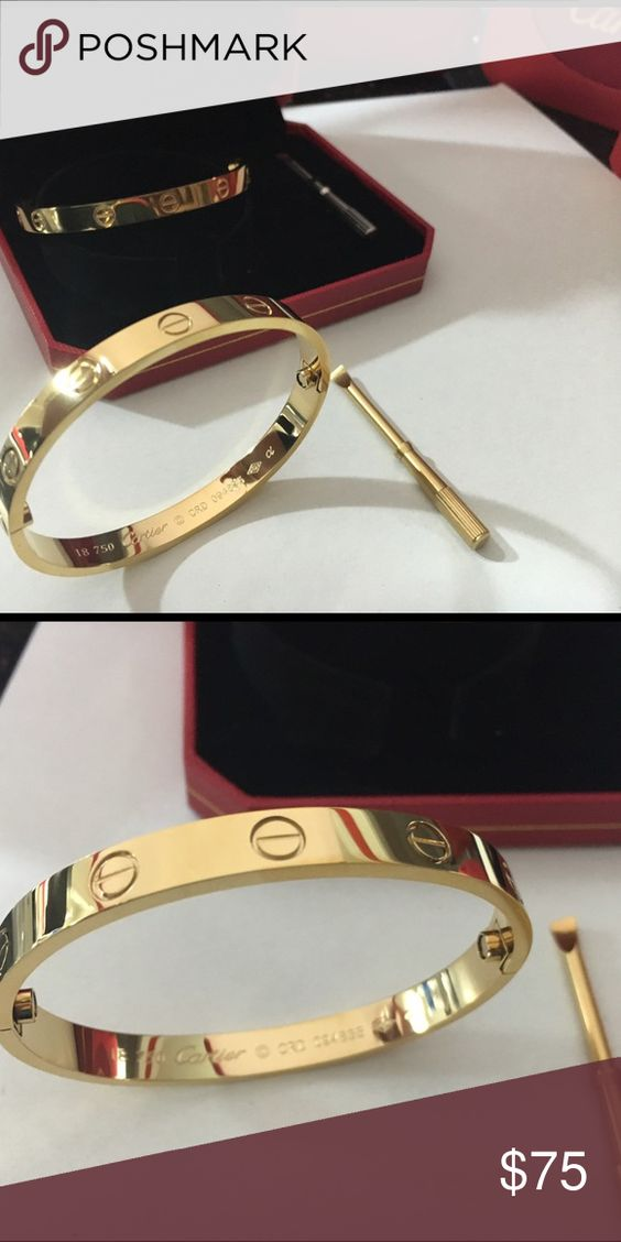 Love bracelet💕💕 18k gold plated, comes with box and dust bag, it will not tarnish. Available at iheartgisellescloset.storenvy.com for a better price! 😊 Accessories