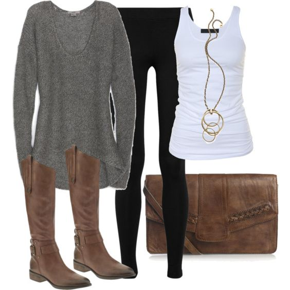 black gray sweater white tank brown boots and