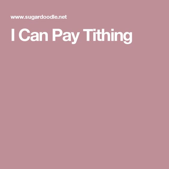 I Can Pay Tithing