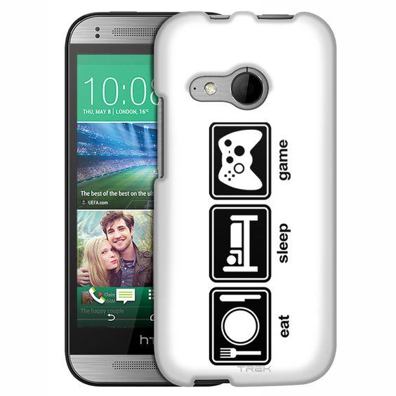 HTC One Remix Eat Sleep Game on White Slim Case