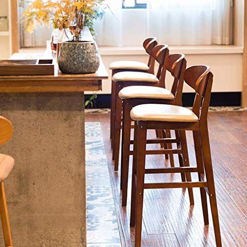 Wisdom Solid Wood Bar Stool Creative High Chair European Bar Chair Wooden Retro Style High Stool 6 Wood Bar Stools Kitchen Breakfast Bar Stools Bar Chairs