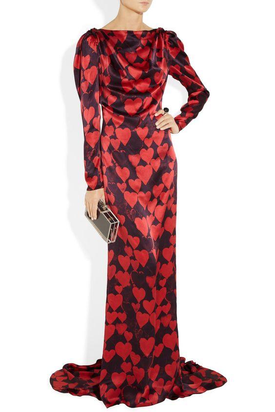 Lanvin|Heart-print silk-satin gown|NET-A-PORTER.COM