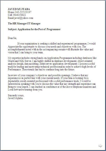application programmer resume